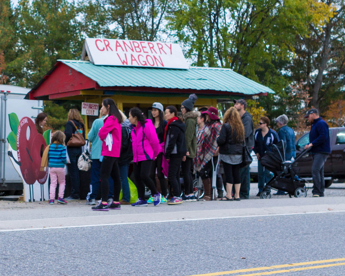 Vistors line up for cranberry themed food at the Bala Cranberry Festival