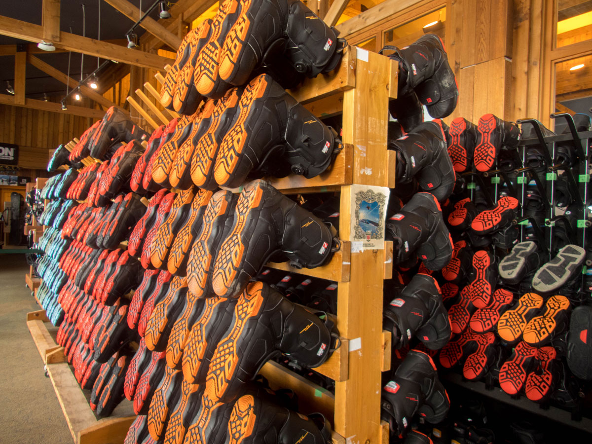 A rack of Ski Boots at a Ski Resort on a Japan Ski Holiday