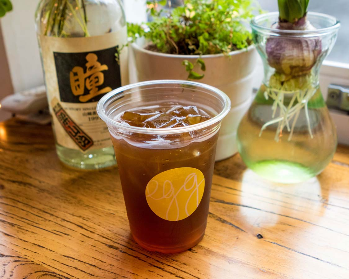 Cold-brewed tea served at Egg Coffee house in Shanghai China