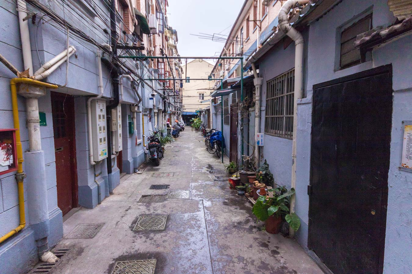 Urban alley in Shanghai China where many locals make their home