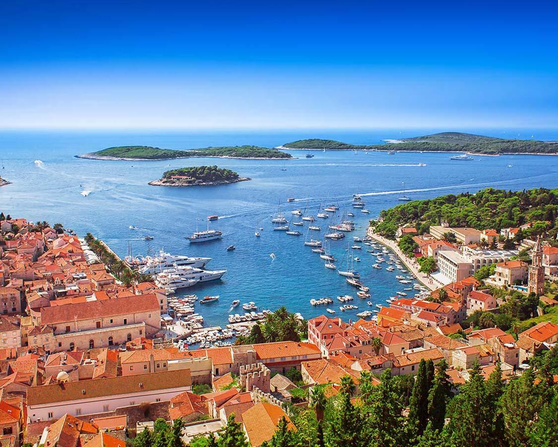 Hvar Harbor while Family Sailing in Croatia
