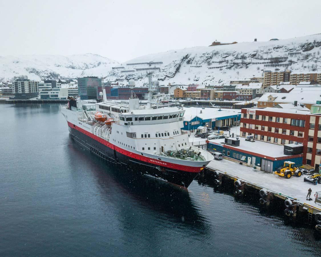 Hurtigruten Cruise Lines MS Vesteralen docked in Hammerfest Norway