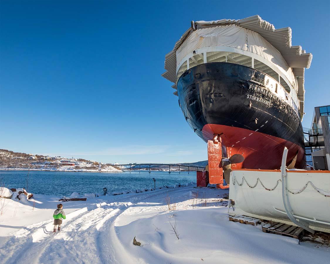 Hurtigruten MS Finnmarken in Stockmarknes Norway