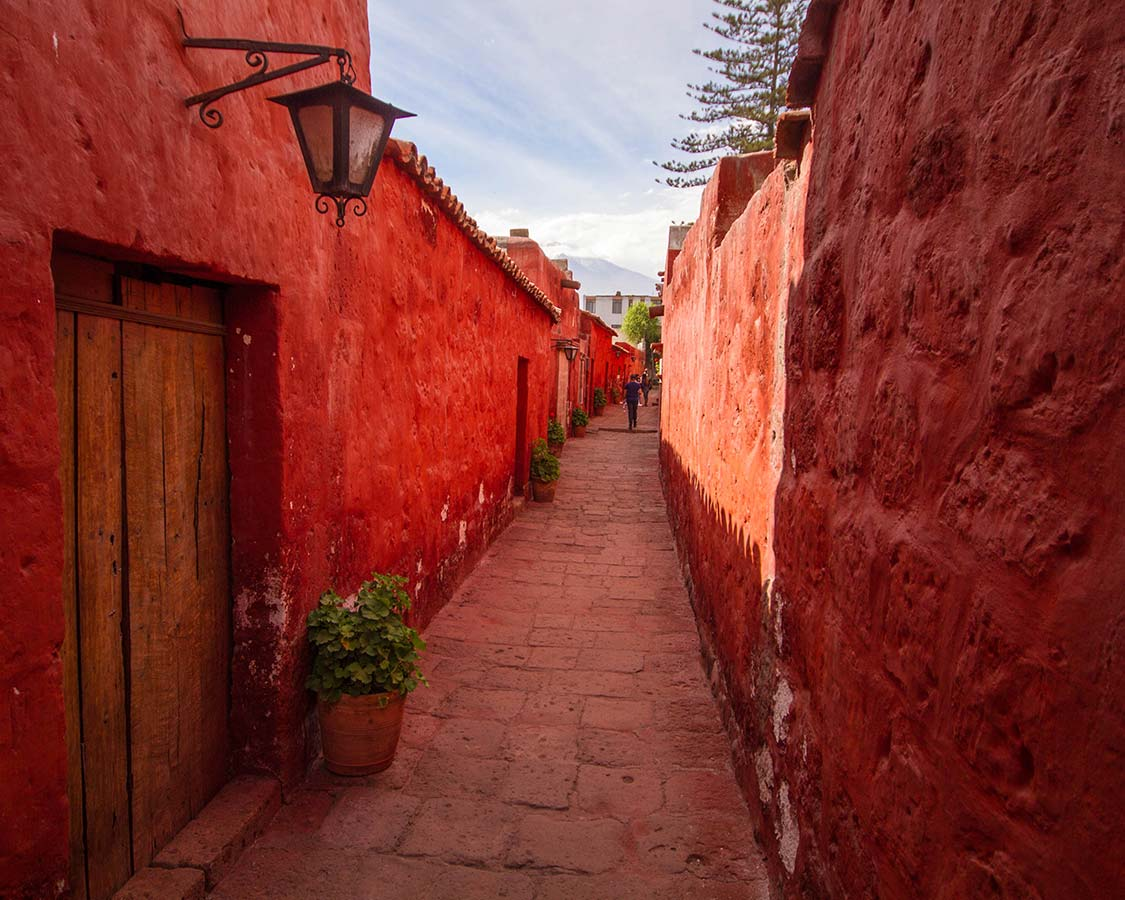 Rose colored buildings of the Santa Catalina Convent in Arequipa Peru