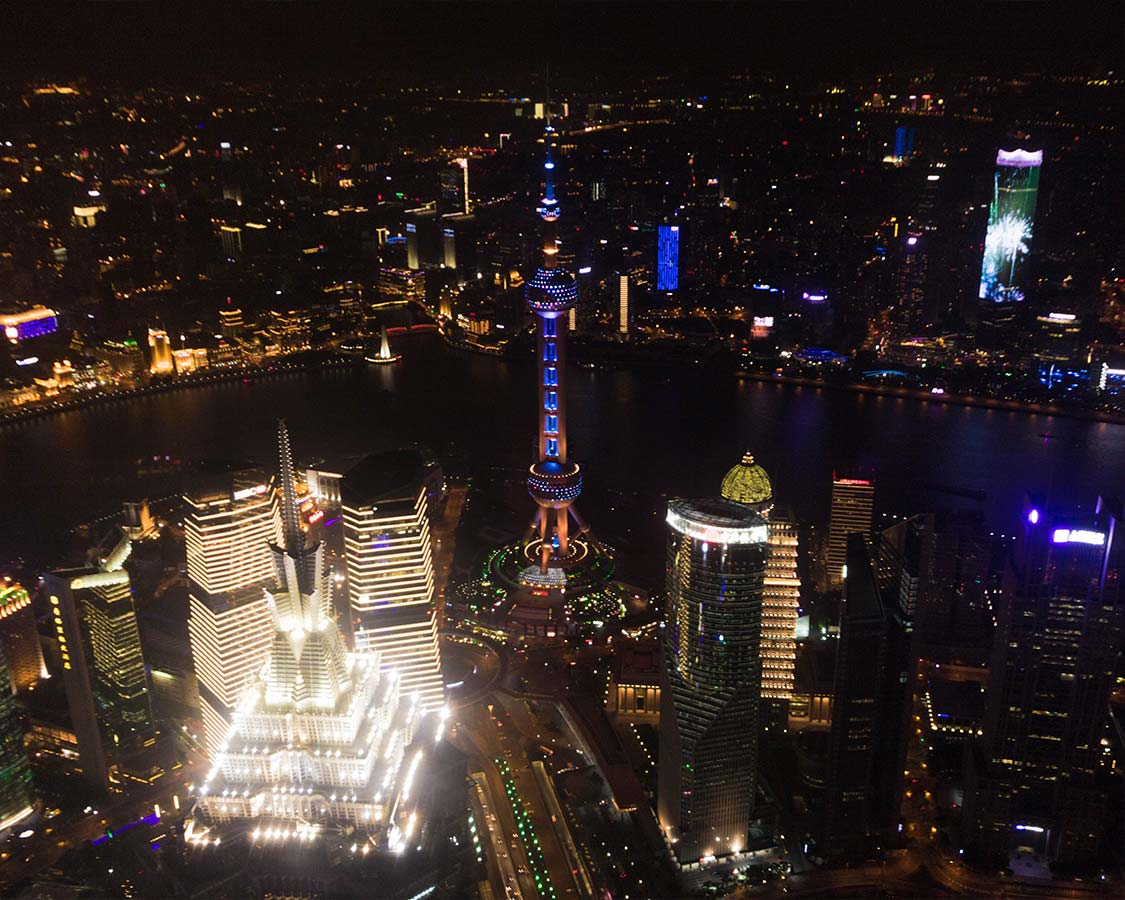 View from the World Financial Center in Shanghai China