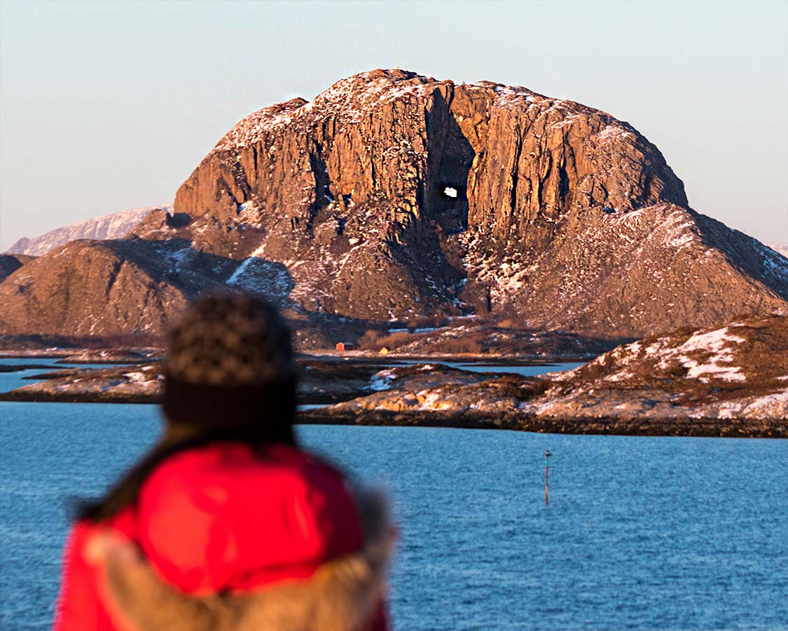 Torghatten Mountain with a hole in it on a Norway Northern Lights Cruise