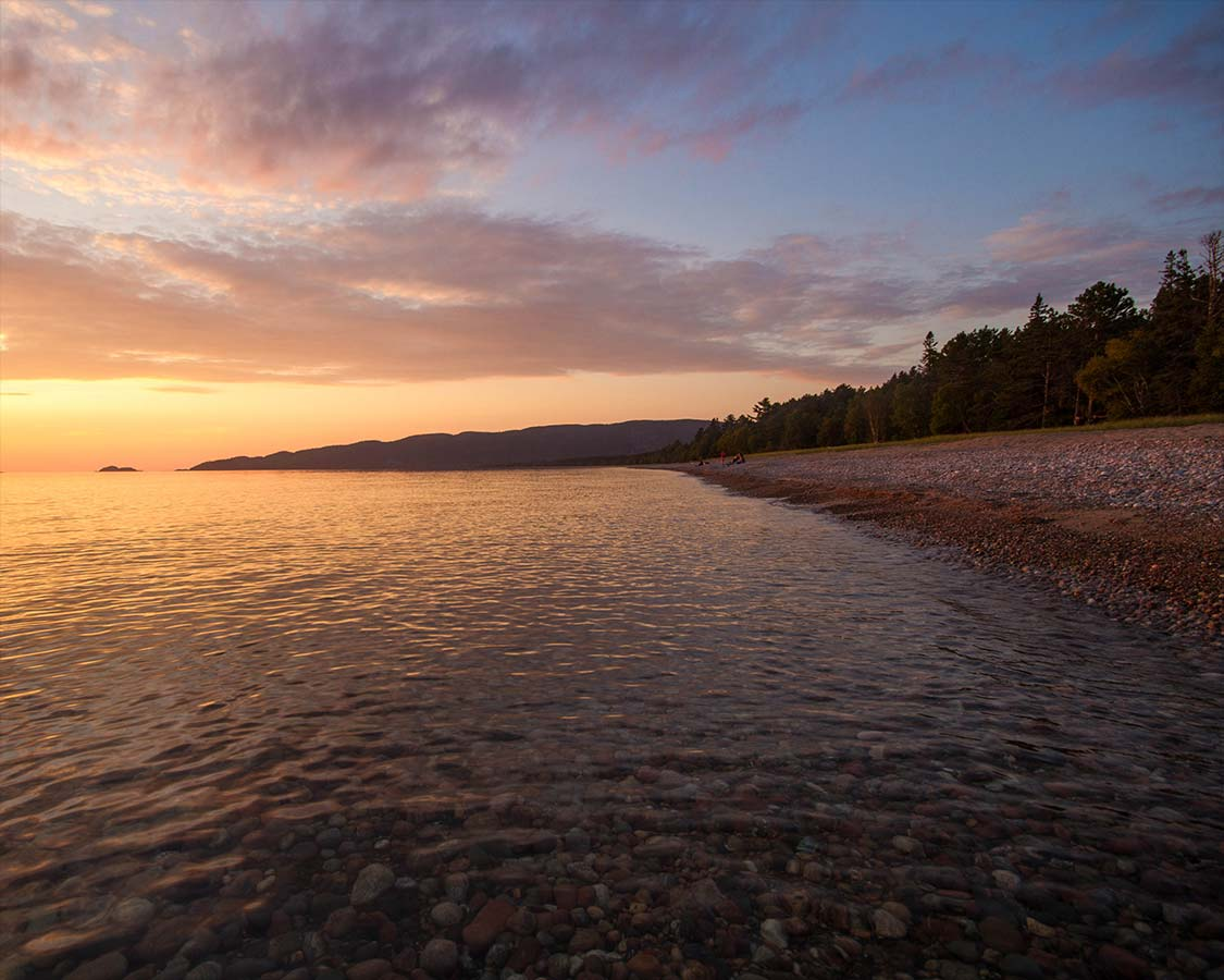 Agawa Bay Campground at Sunset in Lake Superior Provincial Park
