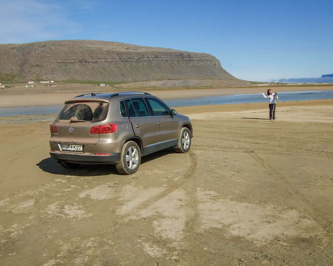 Iceland for families driving on the beach