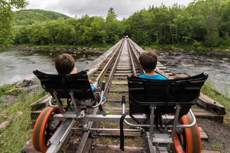 Kids on an Adirondack Rail Bike Tour