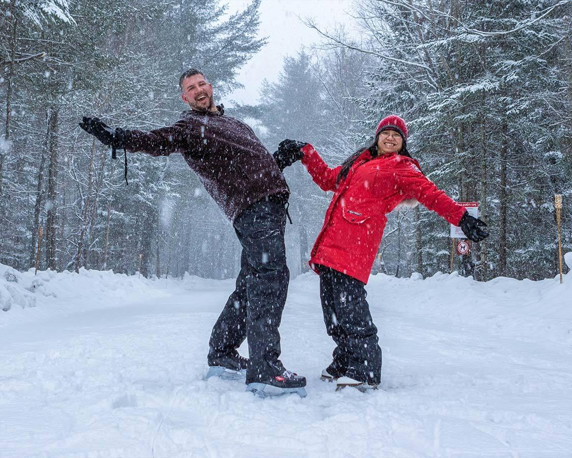 Couples skating at Arrowhead Provincial Park