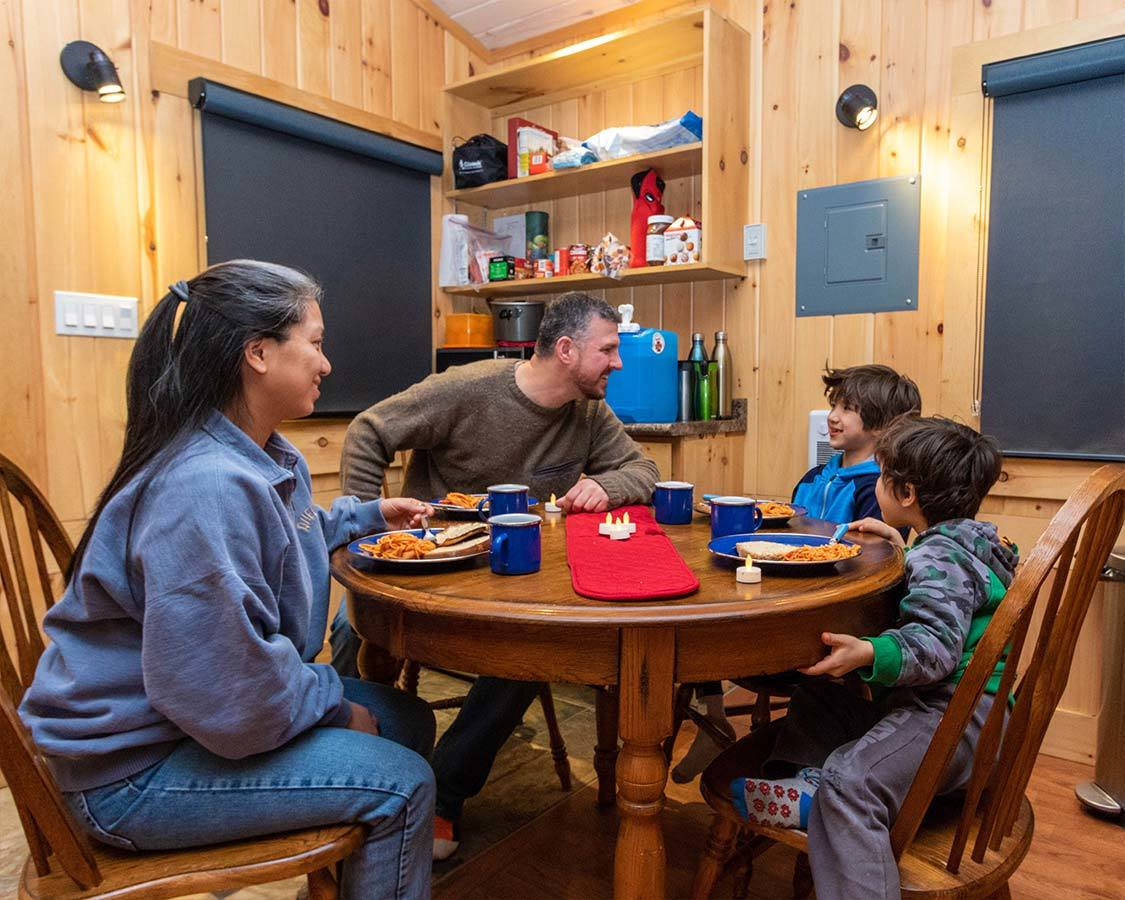 Winter cabins at Arrowhead Provincial Park