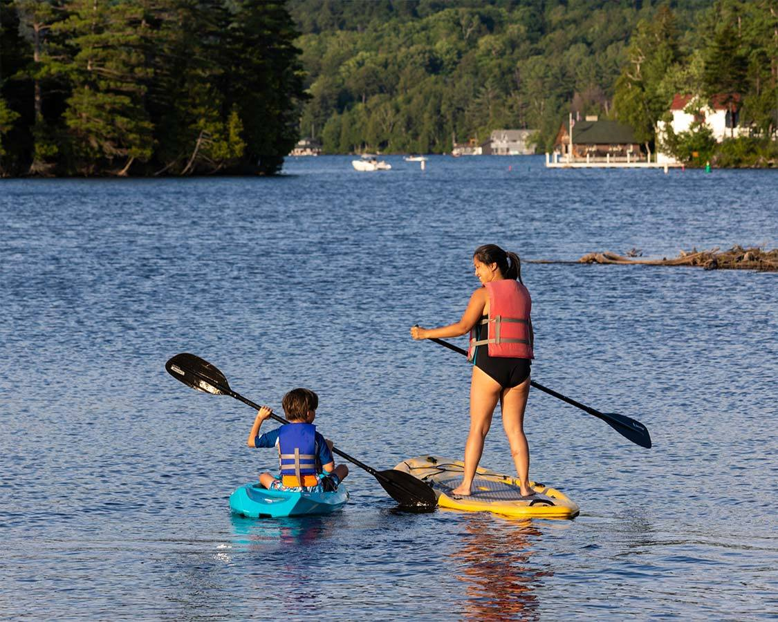 Saranac Lake things to do SUP on Lake Flower