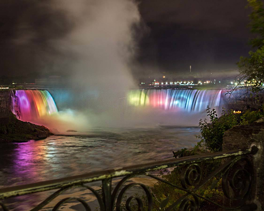 Things To Do In Niagara Falls Lit Up At Night Rainbow
