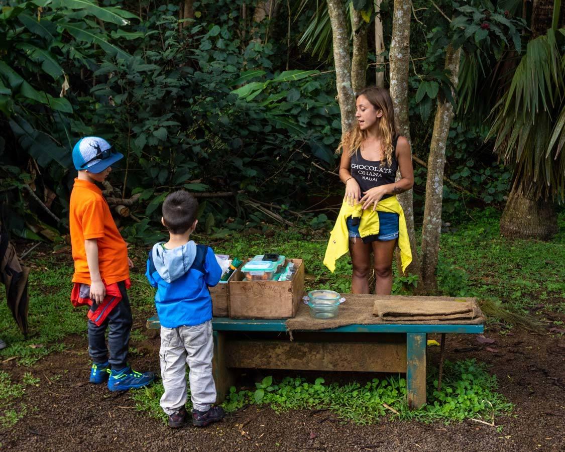family travel to Kauai Lydgate Farms chocolate tour
