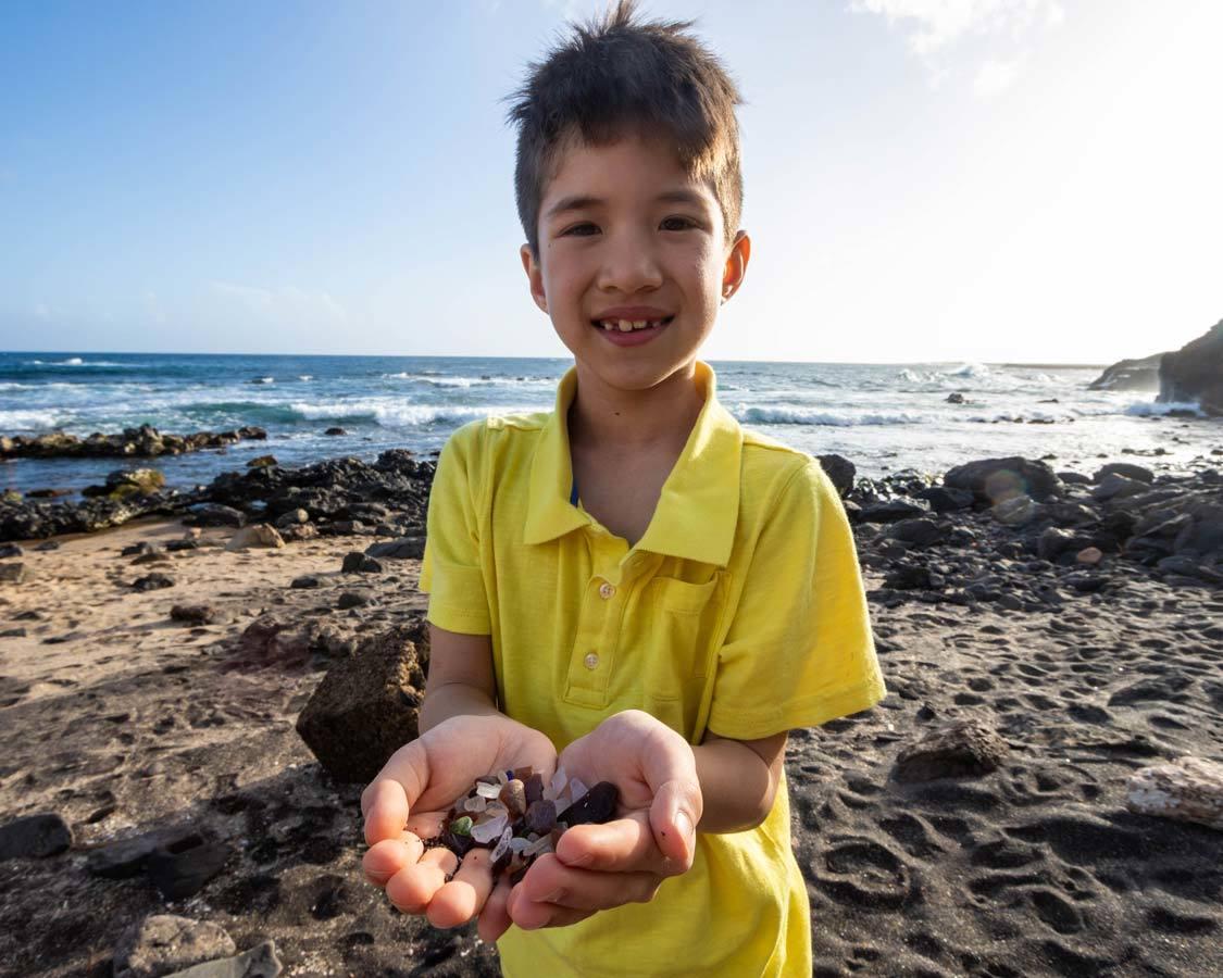 Things to do in Kauai with kids Glass Beach