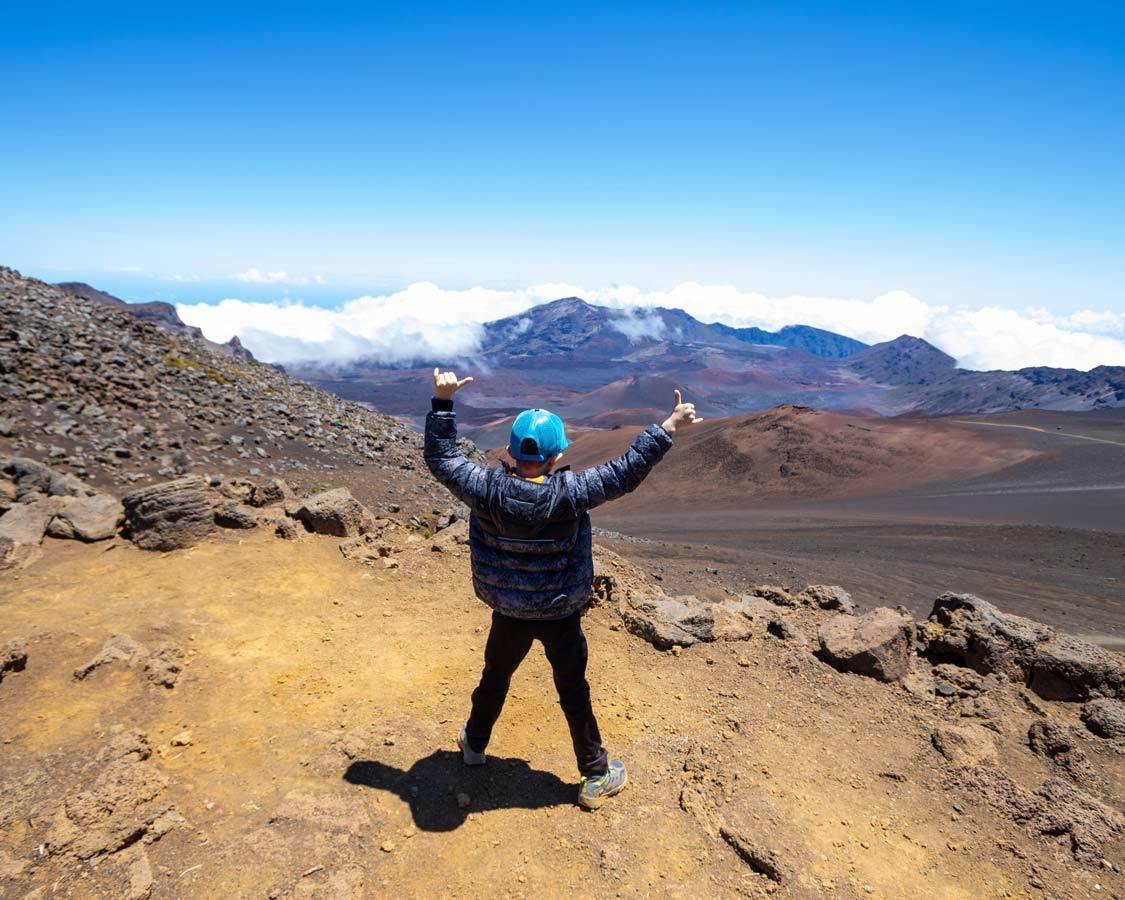Boy Climbing Haleakala Crater 5-Days in Maui Hawaii