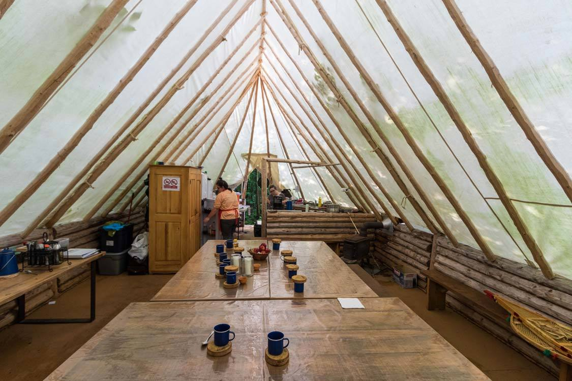 Dining tent at Amishk Adventures Indigenous Experience