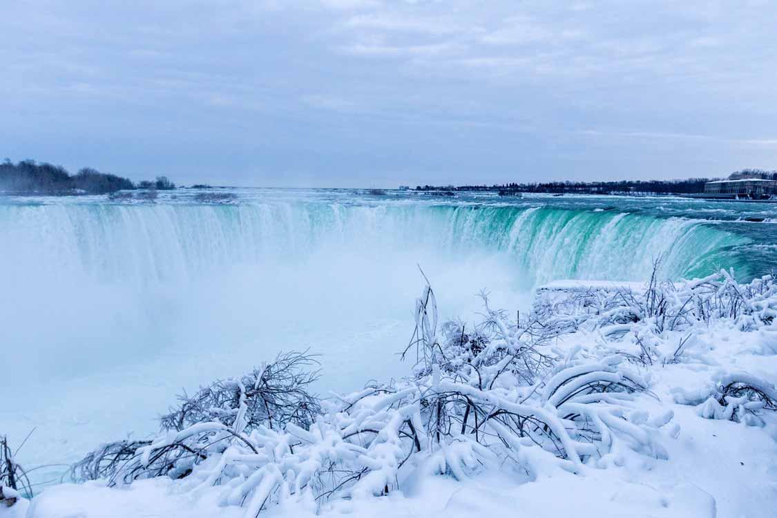 Frozen Niagara Falls in wintertime