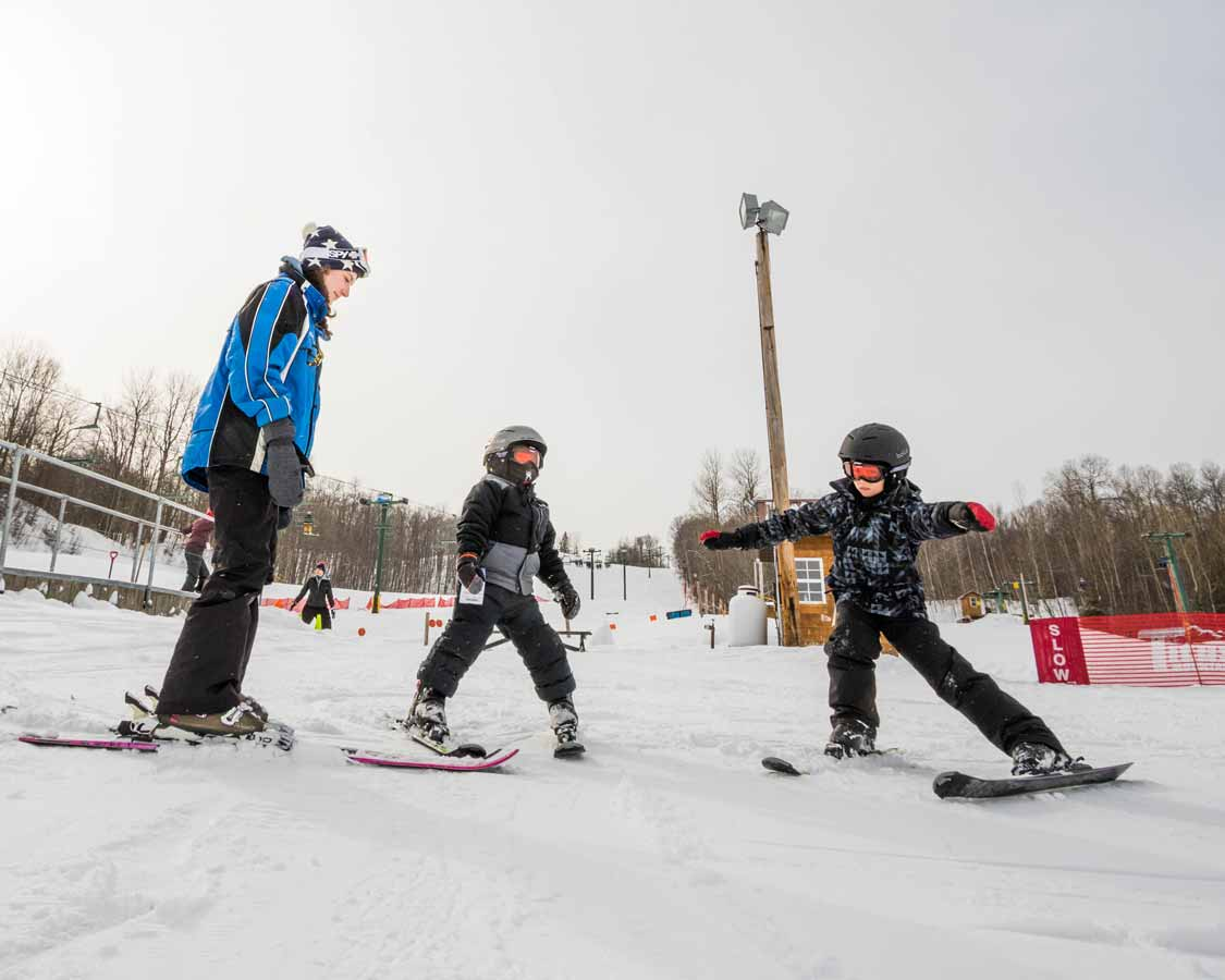 Children taking Family Ski Lessons