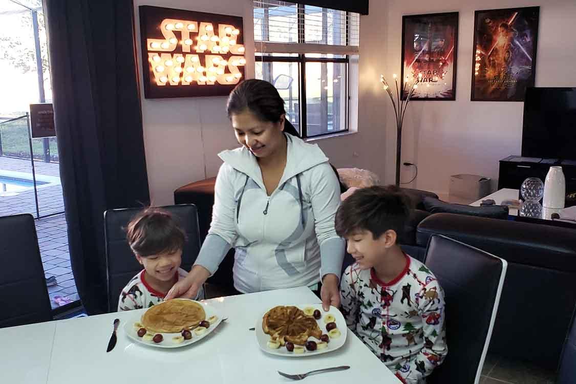 Star Wars waffles at Orlando Airbnb