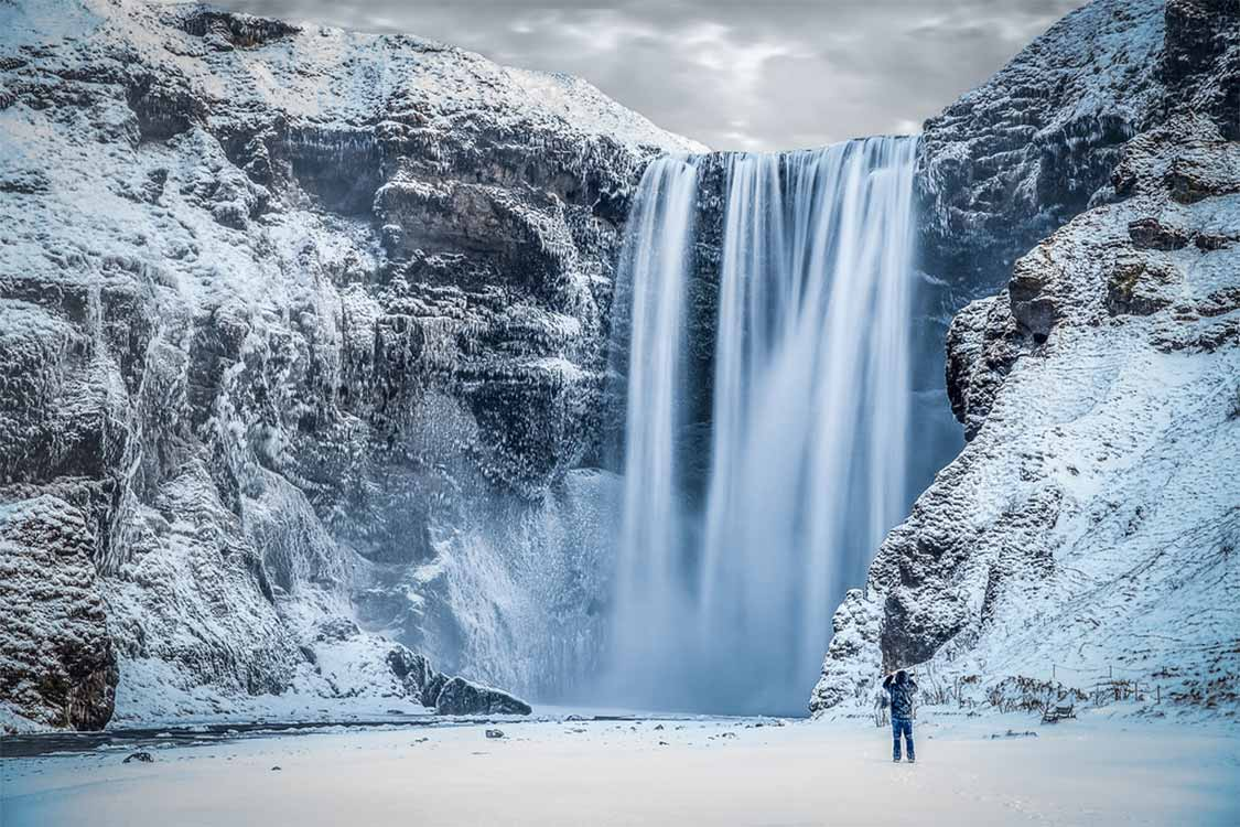 Skogafoss Waterfall in Iceland in winter