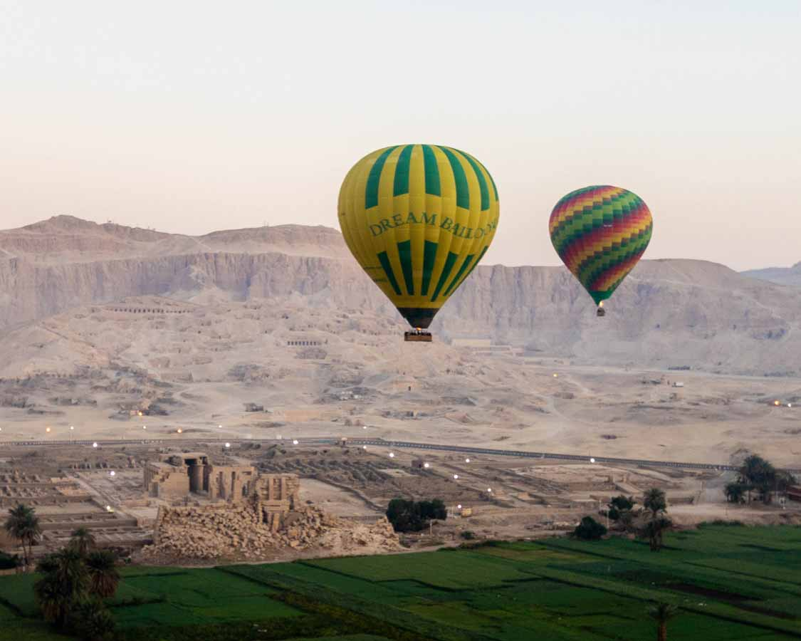 Valley of the Kings from a Hot Air Balloon over Luxor