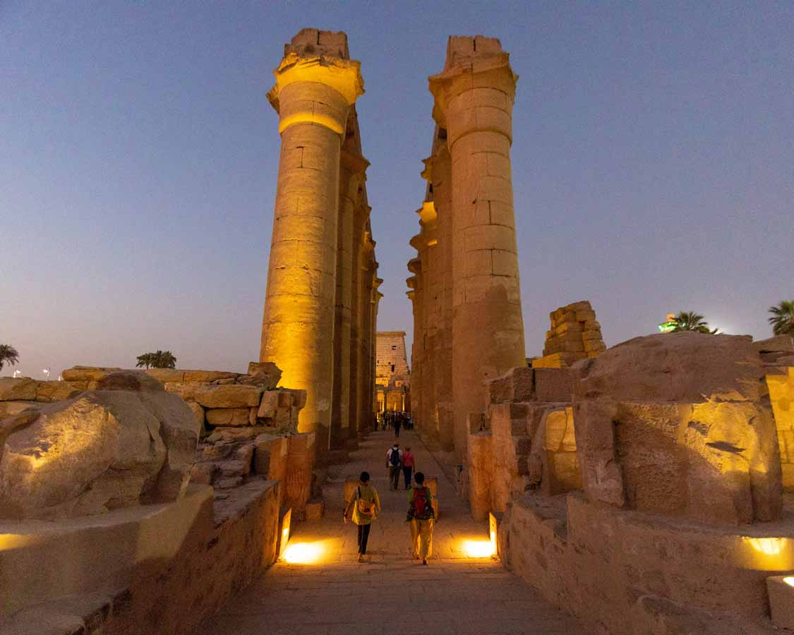 Luxor Temple Lit Up At Night