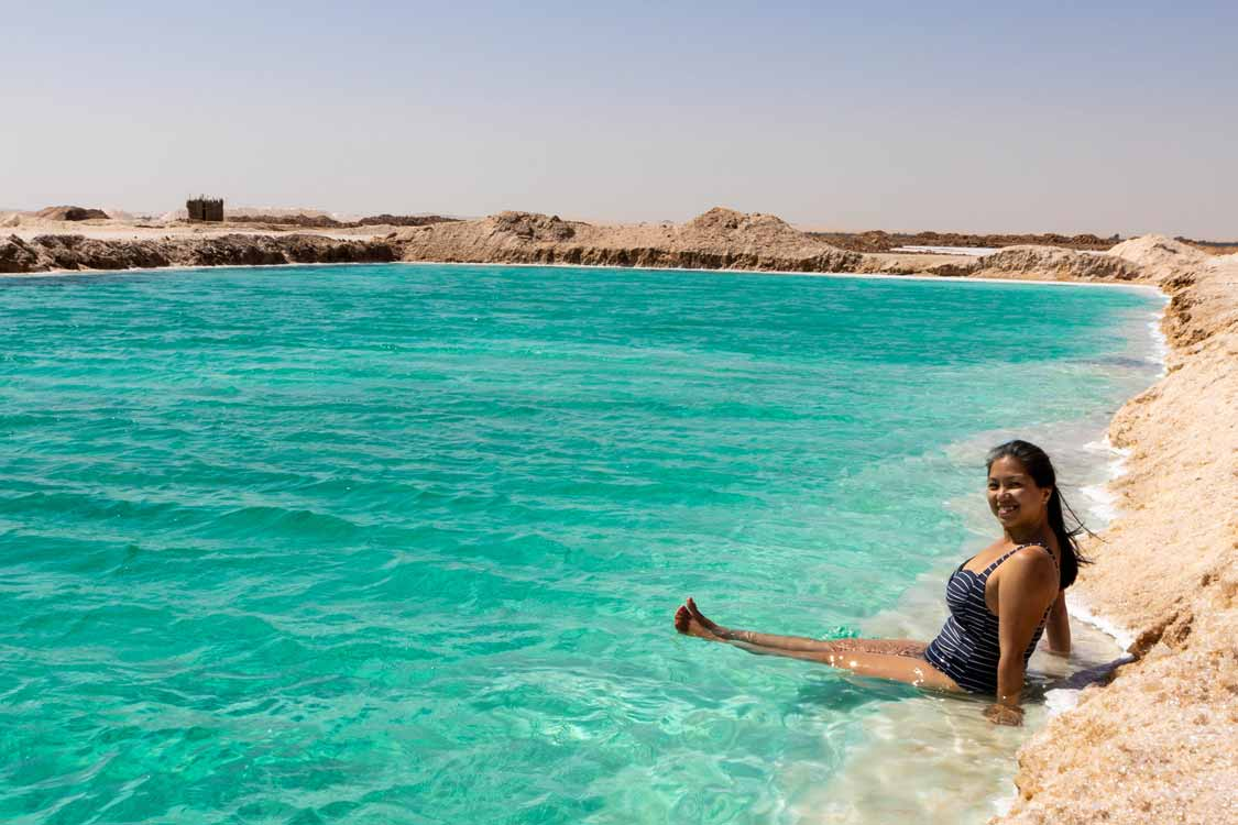 Swimming at the Siwa Salt Lake
