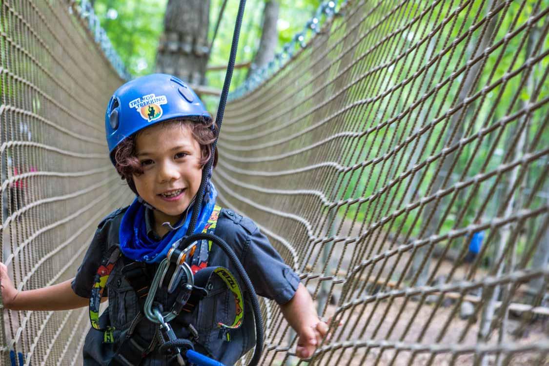 Treetop trekking with kids in Ontario