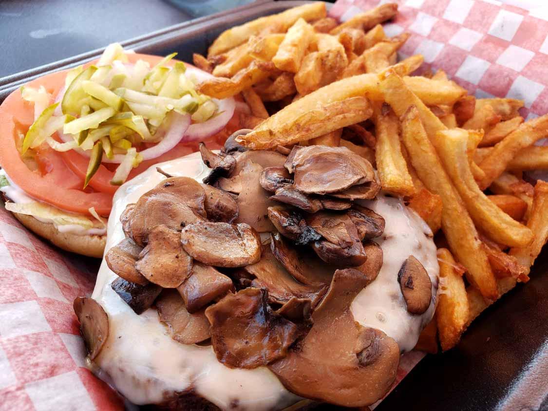 Swiss Mushroom Burger at Burger Barn in Six Nations reservation